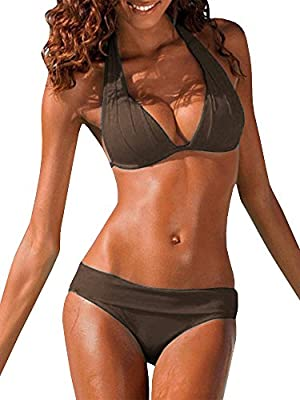 SySea Womens Sexy Bikini Set Halter Padded Top Two Piece Swimsuit, Brown, Small