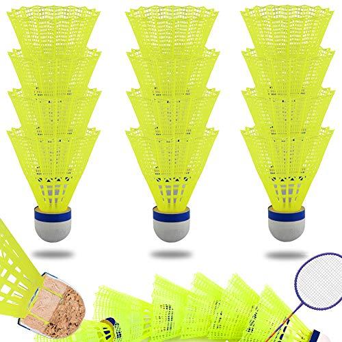 JTENG Badminton Federbälle, 12 Stück Badminton Bälle, Korkfuß,Mit hoher Stabilität und Haltbarkeit für Bewegung, Unterhaltung