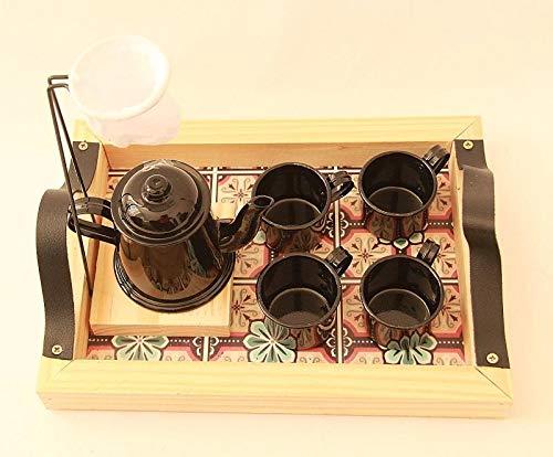 Xícara de Café Goumert, Kit com Suporte, Coador, 4 Canecas 80ml, Bule 270ml, Bandeja Amarelo