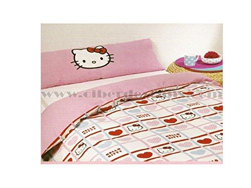 AMBILAR Colcha edredón Hello Kitty 180 x 265 cm (Cama de 90 cm) Modelo Valentines