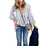 ZXZY Women Long Sleeve V Neck Hollow Out Floral Print Shirt Tops Long Blouse Tee, Large,  Blue