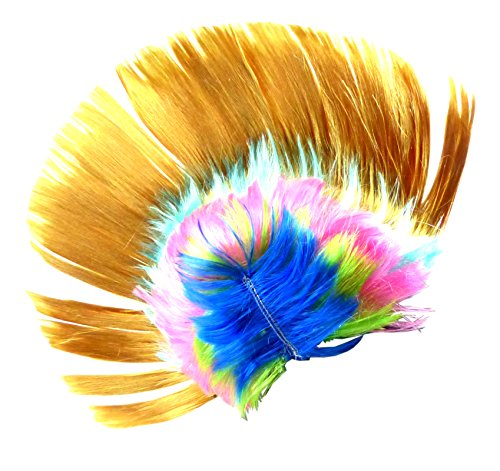 perruque or WM Fan de l'article homme femme cheveux Punk Rock de rechange Carnaval Carnaval Halloween Coiffure Cheveux Fluo peruecken (Jaune)