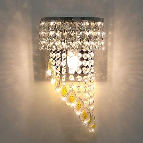 KAWELL Moderna Apliques de Pared de Cristal K9 Interior Lámpara de Pared LED de Cristal Base de Lámpara E14 Luz de Pared de Cristal para Dormitorio Sala de Estar Pasillo Comedor Habitación de Niña