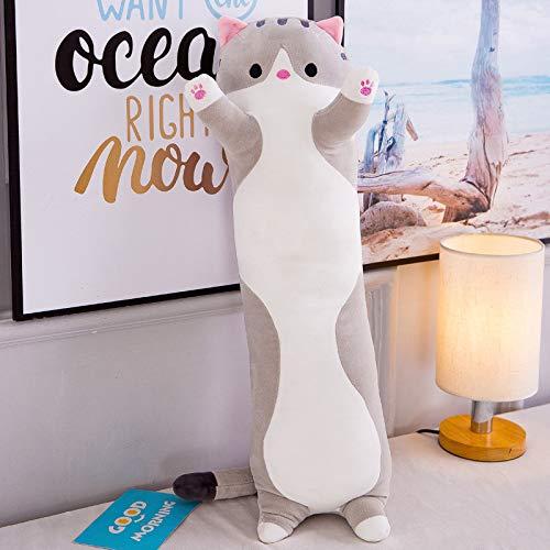 Miranda Almohada de gato largo almohada de dibujos animados lindo gato perezoso dormir almohada niña corazón gato peluche juguete gris 130cm
