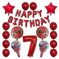 バルーン 30pcsスパイダーマンホイルの風船1 2 3 4 5 6 7 8 9歳の誕生日パーティーの装飾番号バルーンスターキッズのおもちゃ (Color : 7)