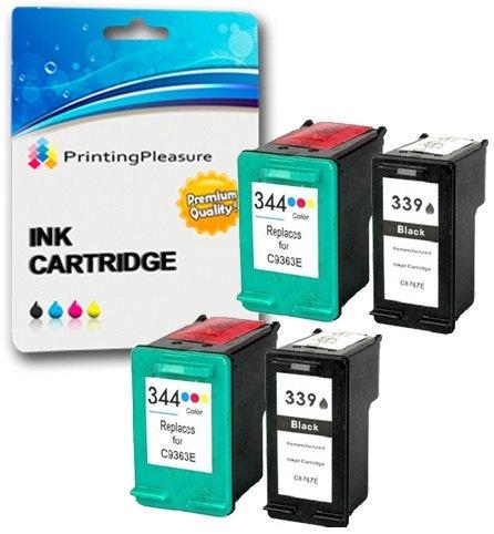 Printing Pleasure 4 Druckerpatronen für HP Photosmart 2570 2573 2575 2605 2610 2710 8050 8150 8450 8750 DeskJet 5740 5940 5950 6540 6840 6940 6980 | kompatibel zu HP 339 (C8767EE) & HP 344 (C9363EE)