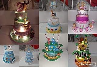 Torta scenografica/finta in gomma eva per nascita, battesimo, compleanno, comunione, cresima, laurea, matrimonio, 100% per...
