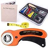 Kuppt Bias Tape Makers Set 4 tamaños de cinta al bies con cortador rotativo, agujas de coser, pinzas de costura, anillo, prensador de pie para tela acolchada, costura, costura