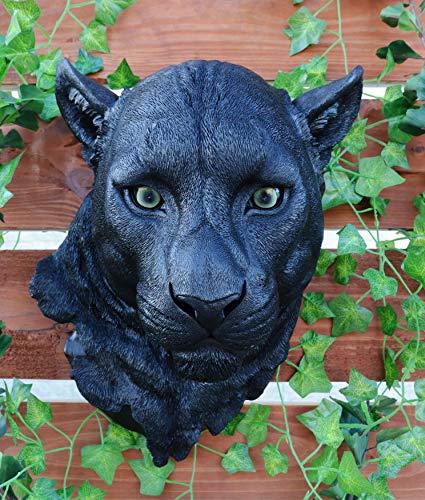 Ebros Gift Large Black Panther Head Wall Decor Plaque 16'Tall Taxidermy Art Decor Sculpture Nocturnal Predator Jaguar Wall Bust Plaque Home Decorative Jaguars