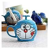 YSJSPOL Tazza d'Acqua Coppia Creativa Coppia in Ceramica Tazza con Coperchio e Cucchiaio Semplice Cartoon Doraemon Tazza Tazza Tazza di caffè Colazione Bambini Regalo di Compleanno Tazza