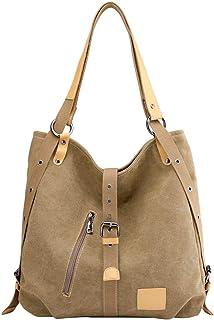PB-SOAR Damen Vintage Canvas Schultertasche Rucksack Handtasche Freizeittasche Shopper Hobo Tasche Rucksackhandtasche Vielseitige Tasche Khaki