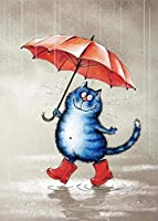 QWEFGDF 番号でペイント デジタル油絵塗クリスマスプレゼント、キッズバースデーギフト (40x50 cm)傘をさした子猫