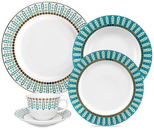 1 Aparelho de Jantar e Chá 30 Peças Oxford Porcelanas Flamingo Tiara Multicor