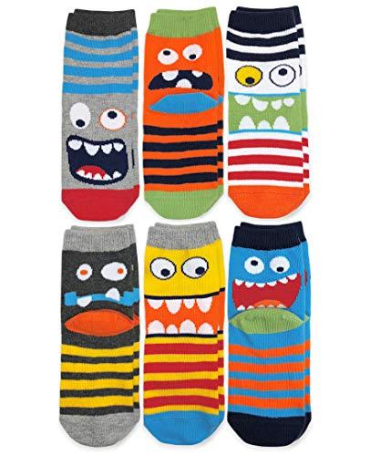 Jefferies Socks Boys' Little Monster Pattern Crew Socks 6 Pair Pack, Multi, 12-24 Months