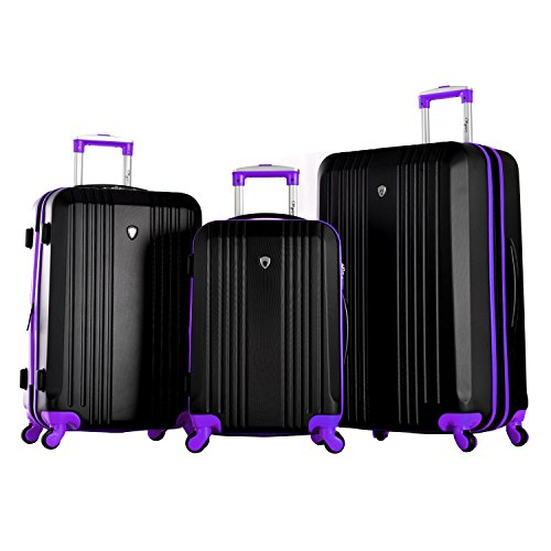 Olympia Apache 3pc Hardcase Spinner Set, Black/Purple