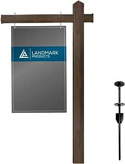 Landmark Dark Walnut Vinyl PVC Real Estate Sign Post with Heavy Duty Stake - 6 Feet Tall - Flat Pyramid Cap