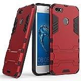 CHcase Huawei Y6 Pro 2017 Funda, 2in1 Armadura Combinación A Prueba de Choques Heavy Duty Escudo Cáscara Dura PC + Suave TPU Silicona Rubber Case Cover con Soporte para Huawei Y6 Pro 2017 -Red