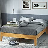 Zinus Moiz 14 Inch Deluxe Solid Wood Platform Bed / No Box Spring Needed / Wood Slat Support / Natural Finish, King