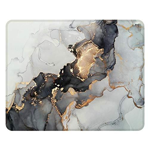 NNAKAPAKA Anti-Rutsch-Mauspad Gummi Quadratisches Mousepad Desktop-Notebook Computer-Mausmatte zum Arbeiten und Spielen 260X210mm mit genähter Kante (Marble Wondrous Golden Black Square)