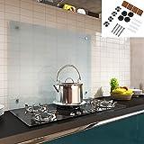 Melko Spritzschutz Herdblende aus Glas, für Küche, Herd, Fliesen, 6 mm ESG Sicherheitsglas, Küchenrückwand, inkl. Schrauben, 120 x 50 cm, Milchglas