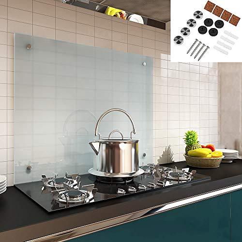 Melko Spritzschutz Herdblende aus Glas, für Küche, Herd, Fliesen, 6 mm ESG Sicherheitsglas, Küchenrückwand, inkl. Schrauben, 80 x 50 cm, Milchglas
