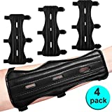 4 Pack Archery Arm Guard Leather Forearm Protector Adjustable Bow...