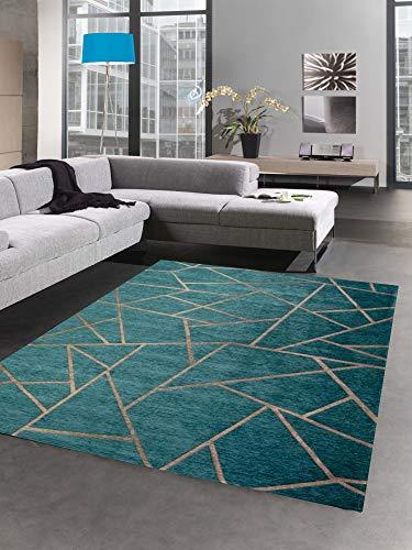 CARPETIA Moderner Teppich Orientteppich Kelim Kilim türkis Bronze Gold Größe 80 x 250 cm