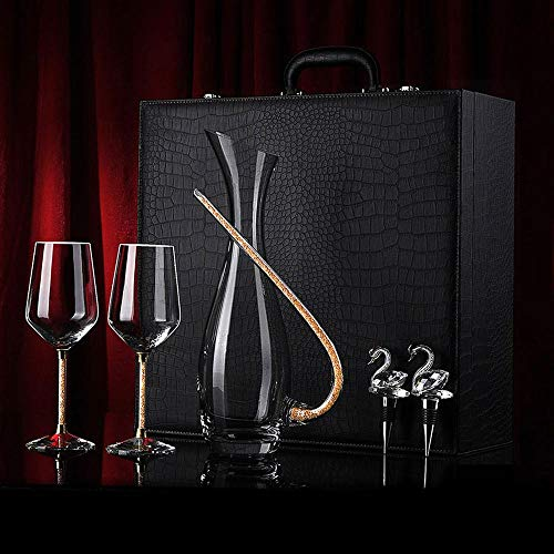 Crystal wine glass decanter set home glass wine glass European stemware gift box, Conjunto de 5 piezas