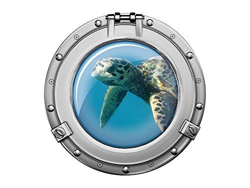 GRAZDesign Baddekoration Schildkröte, Wandbild Badezimmer Bullauge Silber, Wandtattoo Unterwasser / 40x40cm