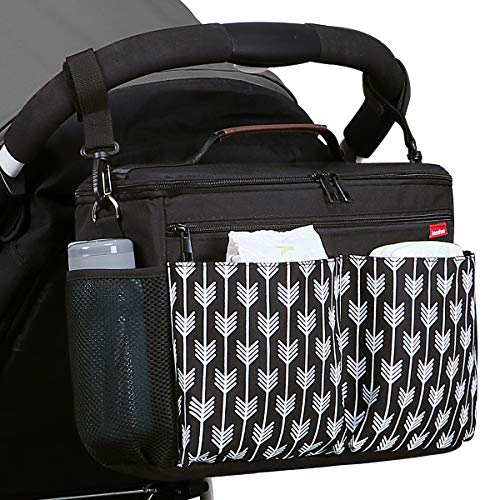 Landuo Baby Stroller Organizer with Insulated Cup Holders Diaper Storage Secure Straps Pockets for Phone Compact Design Fit All Strollers (Black)