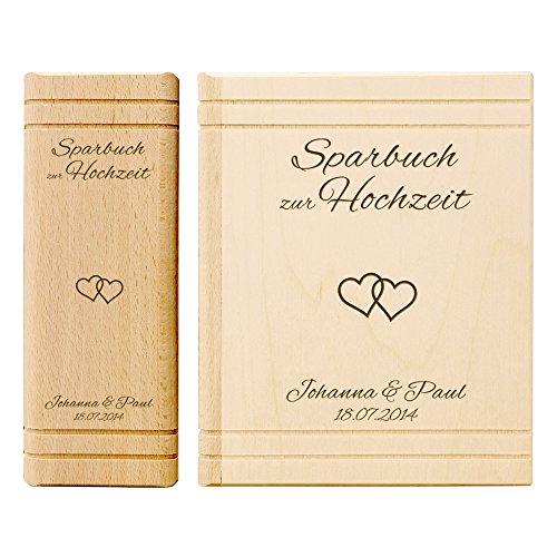 Casa Vivente Spardose aus Holz in Buchform mit Gravur – Sparbuch zur Hochzeit – Herzen – Personalisiert mit Namen und Datum – Hochzeitsgeschenk