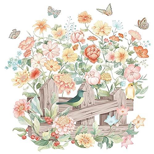 Acuarela Flor Pegatina Valla Pájaro Autoadhesivo Pintura Impermeable Cálido Y Romántico Dormitorio Fondo Pared Pegatina De Pared