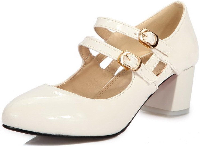 WeenFashion Women's Round Closed Toe Kitten Heels Buckle Solid Pumps-shoes