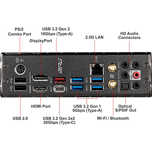 MSI MPG Z490 Gaming Edge WiFi ATX Gaming Motherboard (10th Gen Intel Core, LGA 1200 Socket, DDR4, CF, Dual M.2 Slots, USB 3.2 Gen 2, Wi-Fi 6, DP/HDMI, Mystic Light RGB)
