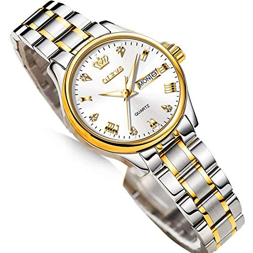 OLEVS Wrist Watch for Women, Luxury Small Face Classic Day Date Lady Watch with White Dial Waterproof Fashion HD Luminous Casual Business Quartz Femal Wristwatch in Stainless Steel Band,Reloj de mujer