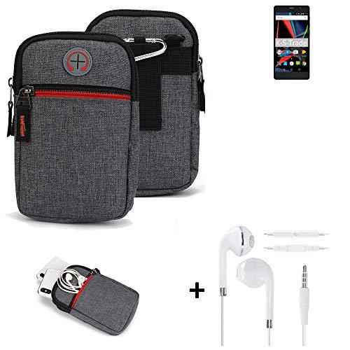 K-S-Trade Gürtel-Tasche + Kopfhörer Für Archos 55 Diamond Selfie Lite Handy-Tasche Holster Schutz-hülle Grau Zusatzfächer 1x