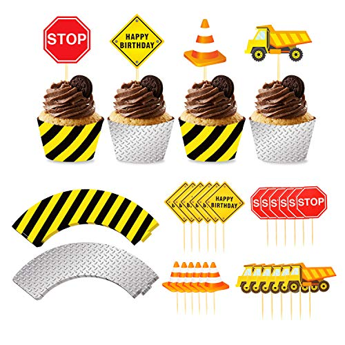 Phogary 24pack Construction Cupcake Toppers and Wrappers, 24-Piece Construction Zone Cupcake Baking Supplies, Kids Birthday Party Favors for Cake and Muffin Decorations
