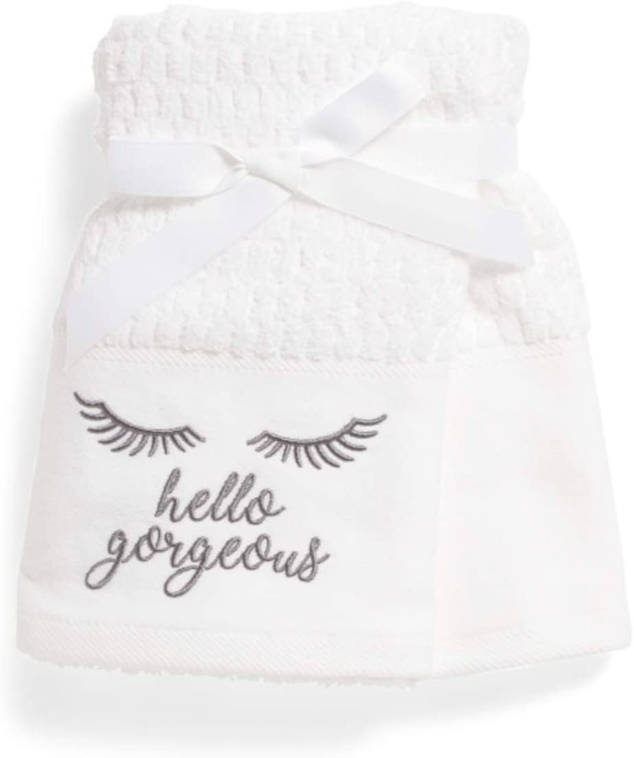 Deborah Connolly Designs Hello Gorgeous Eyelashes Embroidered Hand Towel Set Gray Home Kitchen