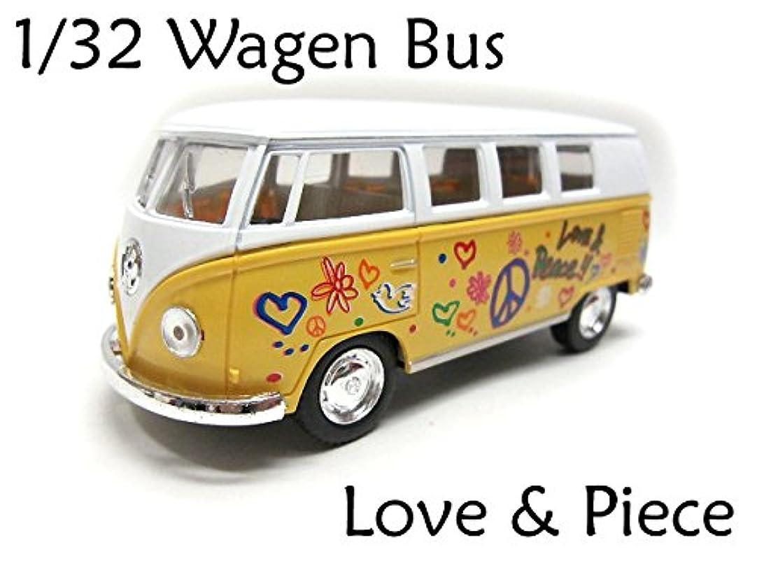 主流工場シンジケート1/32 1962ワーゲンバス ラブ&ピース 黄 TYPE2 サイケデリック ヒッピー コンビ アーリーバスミニカー 車 Volkswagen Bus フォルクスワーゲン マイクロバス VW クラシックカー