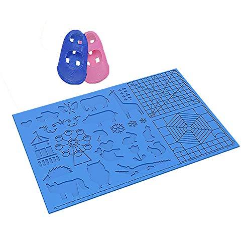 tooloflife Tappetino per Penna per Stampa 3D, 1 Confezione Modello per Disegno a Penna 3D in Silicone Multiforme Strumenti di Disegno Resistenti al Calore più Grandi con Tappi per Le Dita