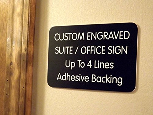 Custom Engraved 4x6 Black w/White Lettering Door Suite Wall Sign   Name Plate   Personalized Wall Plaque   Business Doctor Law Firm Home Office Cafe Shop   Up to 4 Text Lines   Adhesive Backed