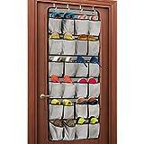 Unjumbly Over the Door Shoe Organizer, 24 Large Pocket Shoe Rack...