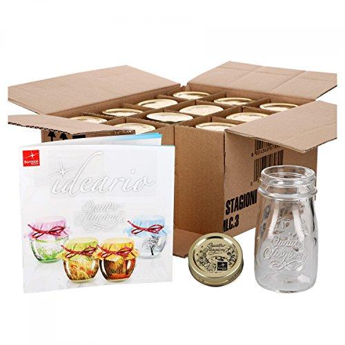 MamboCat 12er Set Quattro Stagioni Flasche 0,20l incl. Bormioli Rezeptheft - als Saft Smoothie Getränke Fläschchen, zur Dekoration oder als Einmachglas, Vorratsglas