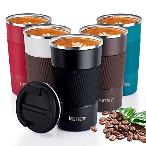 KETIEE Taza de Café, Taza de Viaje Aislada con Tapa a Prueba de Fugas, Taza Térmica Reutilizable, Taza de Café para Coche, Taza de Viaje para Café para Bebidas frías y Calientes, 510ml