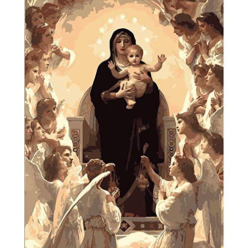 Diy pintura al óleo por números Digital Oil Painting Virgen María figura moderna pared arte lienzo pintura Navidad regalo único decoración del hogar sin marco,60x75cm
