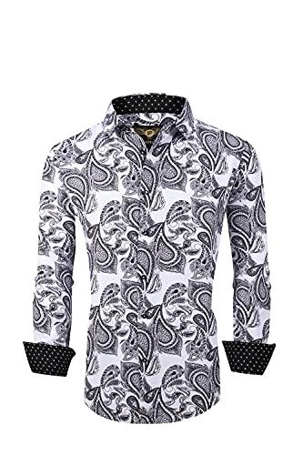 Premiere Men's Colorful Paisley Designer Fashion Dress Shirt Floral Casual Shirt Woven Long Sleeve Button Down Shirt (White Black Paisley 651, 2XL)