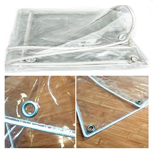 WAJIEFD Lona Impermeable con Ojales Espesar El Plástico De PVC Resistente Al Desgarro Cortina De Lluvia para Jardín Al Aire Libre (Color : Clear-0.3MM, Size : 1x1.5m)