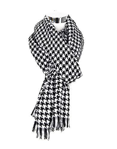 Damen Mode Nachahmung Kaschmir Verdickung Wärme Schal Karo Streifen Gedruckter Schal Weicher Wollschal Langer Halstuch Winter Unisex (Schwarz-weiß)