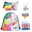 Unicorn Gifts for Girls - Unicorn Drawstring Backpack/Makeup Bag/Bracelet/Inspirational Necklace/Hair Ties (Sequin Unicorn Rainbow)