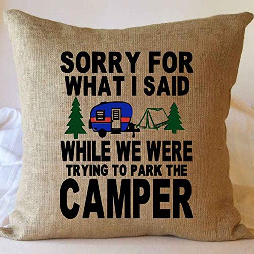 FaceYee Camping Pillows Cushion Cover,Sorry for What I Said,Camping Gifts Decoratives Throw Pillowcases,Square Cushion Covers Two Side Linen Invisible Color:Brown